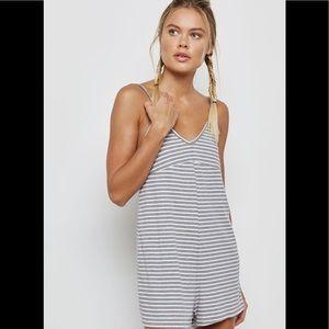 NWT Topshop Stripe Ribbed Pajama Playsuit